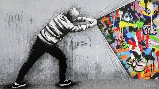 Image of MARTIN WHATSON - BEHIND THE CURTAIN - 23 COLOUR SCREENPRINT