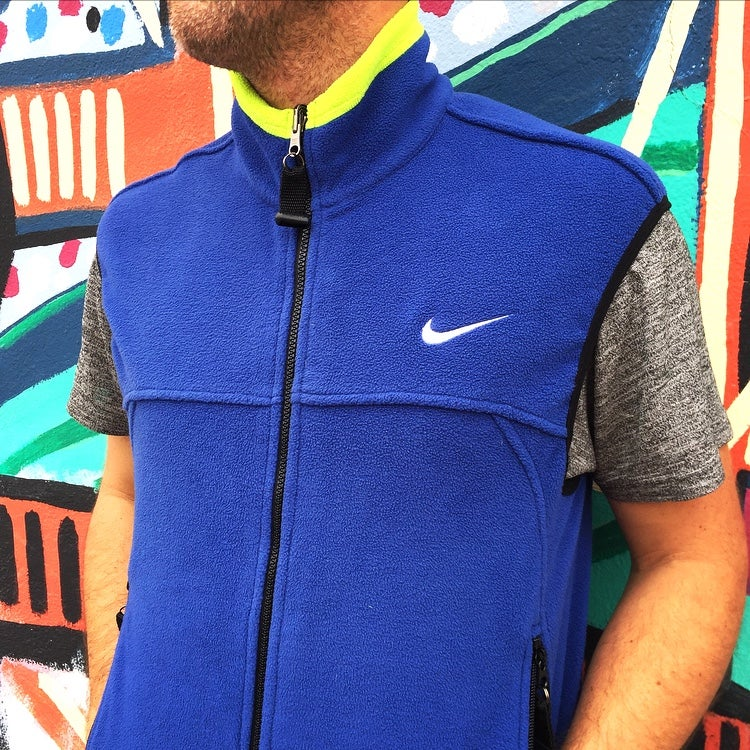 Image of Vintage 1990's Nike Air ACG Scream Green Fleece Vest Sz.S