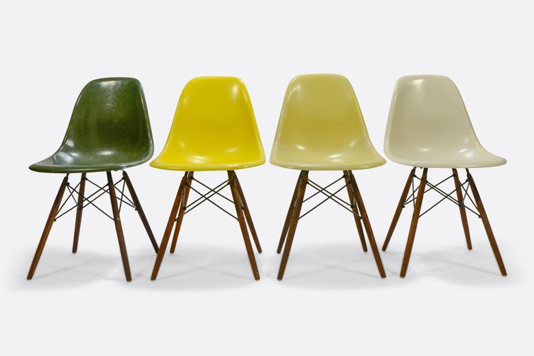 Image of Multicolor set fiberglass Eames DSW chairs Herman Miller and Vitra