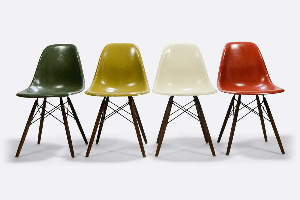 Image of Rare multicolor set DSW Forest Green, Mustard, Off White and Terra Herman Miller/Vitra