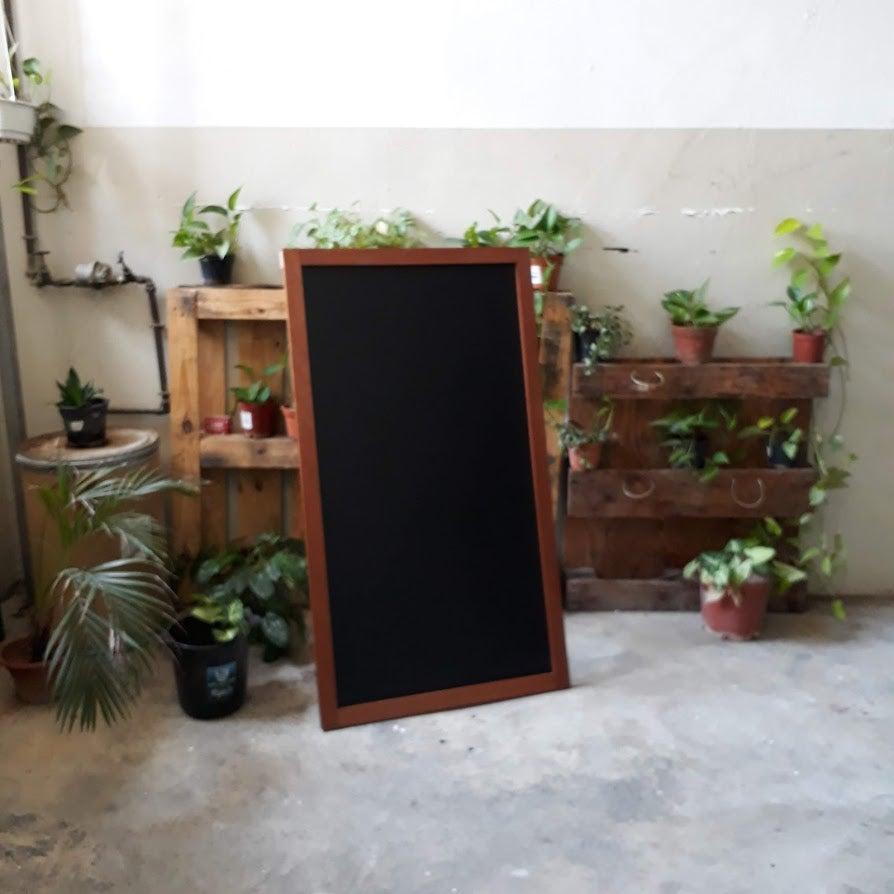 Image of Big Single Sided Standing Chalkboard with Natural Brown Frame