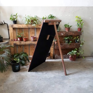 Big Single Sided Standing Chalkboard with Natural Brown Frame