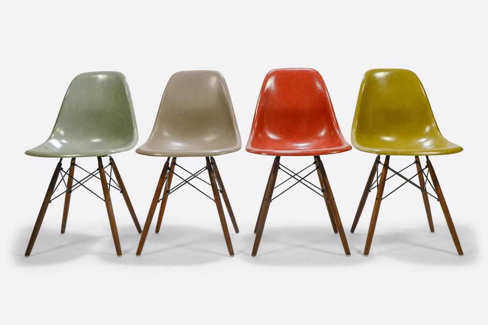Image of Set of 4 Eames DSW fiberglass shell chair Herman Miller Vitra