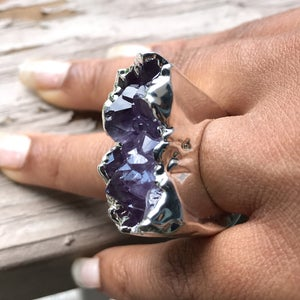 Image of Silver Dipped Amethyst Cluster Rings
