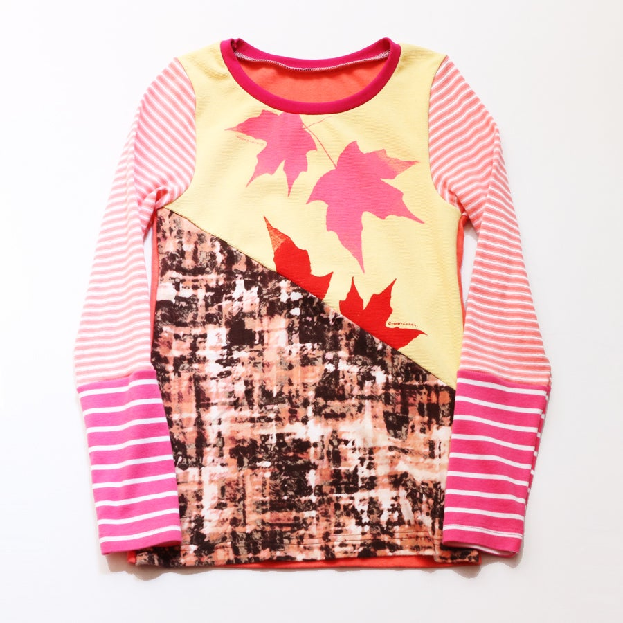 Image of poplar pink 8/10 maple leaf leaves stripe long sleeve shirt top