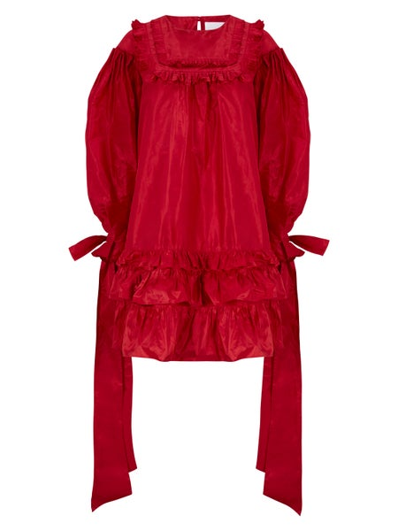 Image of Cardinal Red Silk Taffeta Dress