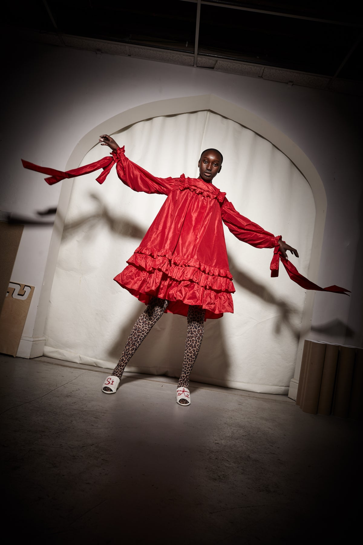 Image of Cardinal Red Silk Taffeta Dress