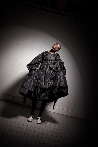 Image of Black Silk Taffeta Pleated Dress