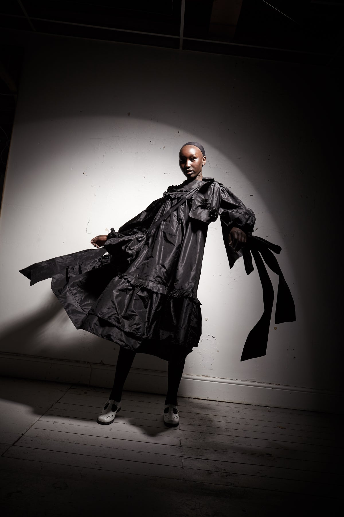 Image of Black Silk Taffeta Pleated Dress
