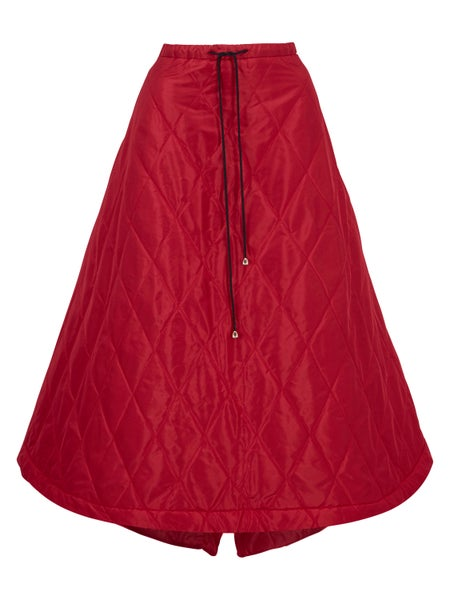 Image of Cardinal Red Quilted Silk Skirt