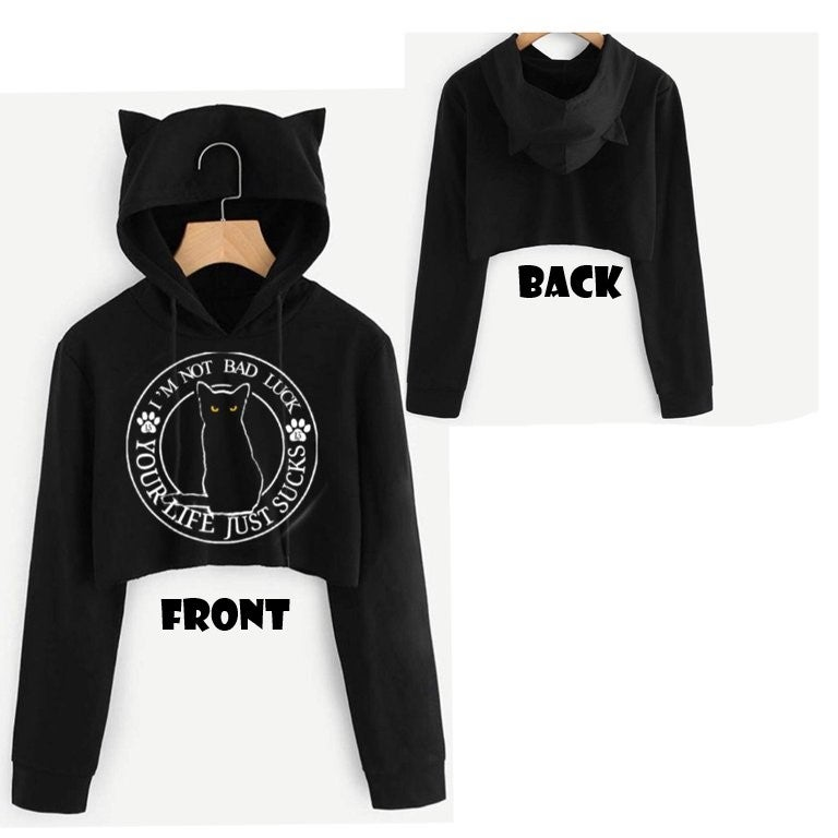 Image of Lucky Kitty Cropped Hoodie