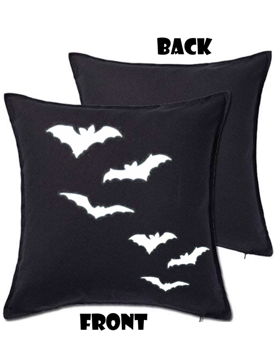 Image of Bats Silhouette Large Throw Pillow