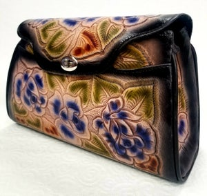 Image of Black with Blue Flowers  Leather Hand-Tooled Flap Purse