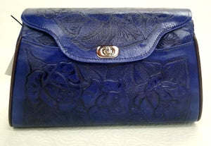 Image of Purple Colored Leather Hand-Tooled Flap Purse