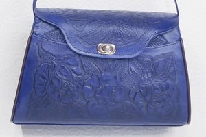 Image of Blue Colored Leather Hand-Tooled Flap Purse