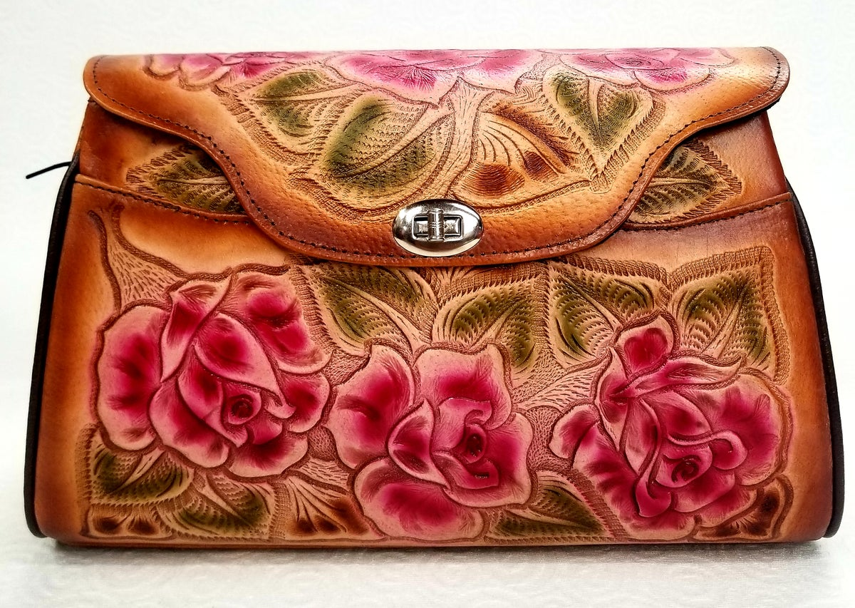 Image of Brown with Pink Flowers Leather Hand-Tooled Flap Purse