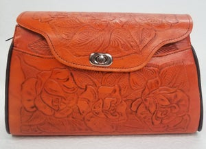 Image of Orange Colored Leather Hand-Tooled Flap Purse