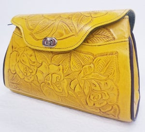 Image of Yellow Colored Leather Hand-Tooled Flap Purse