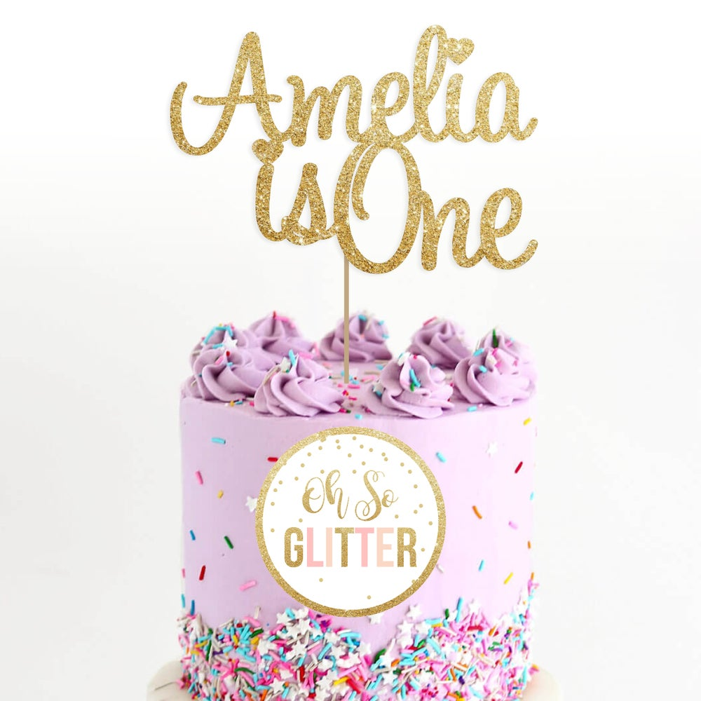 Image of Custom glitter cake topper - any name / age