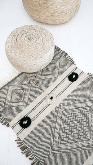 Image of kilim Wool Pompoms and Shadoui  - Berber Wool Rug