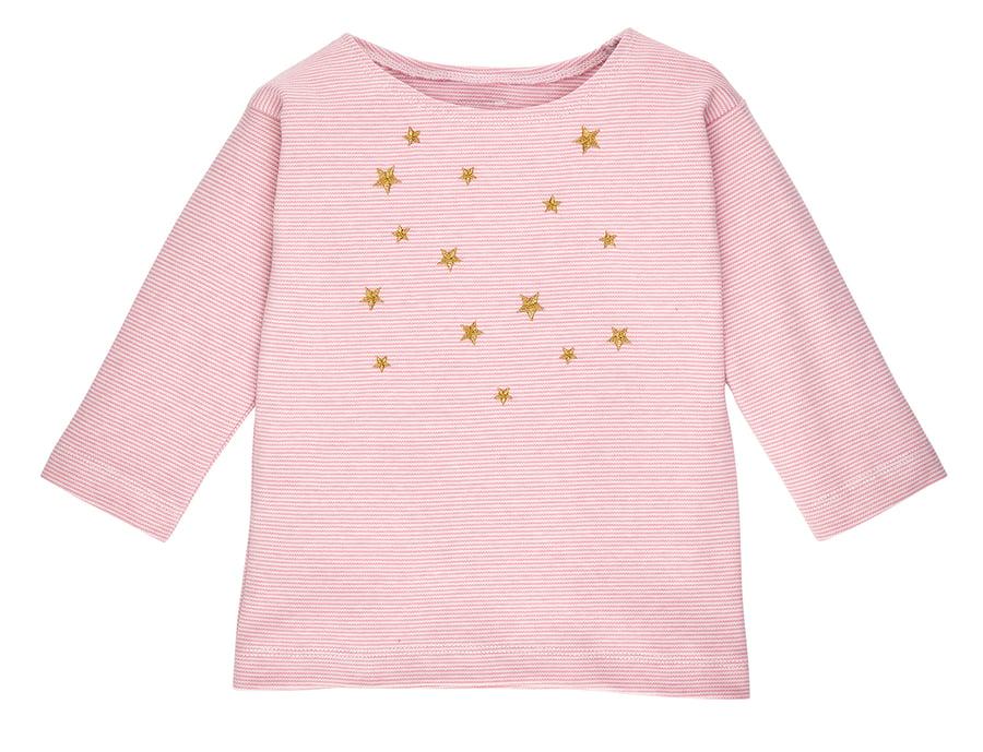 Image of SALE T-shirt rose gestreift mit goldenen Sternen