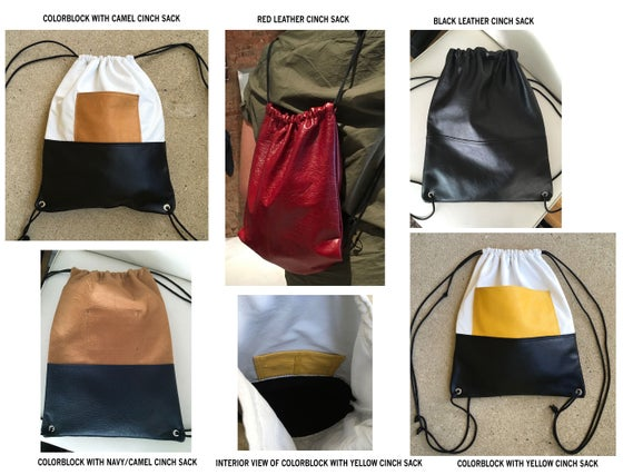 Image of leather cinch sack by silas