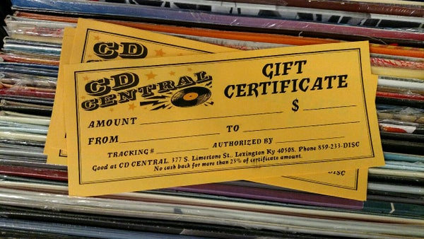 Image of CD Central Gift Certificates