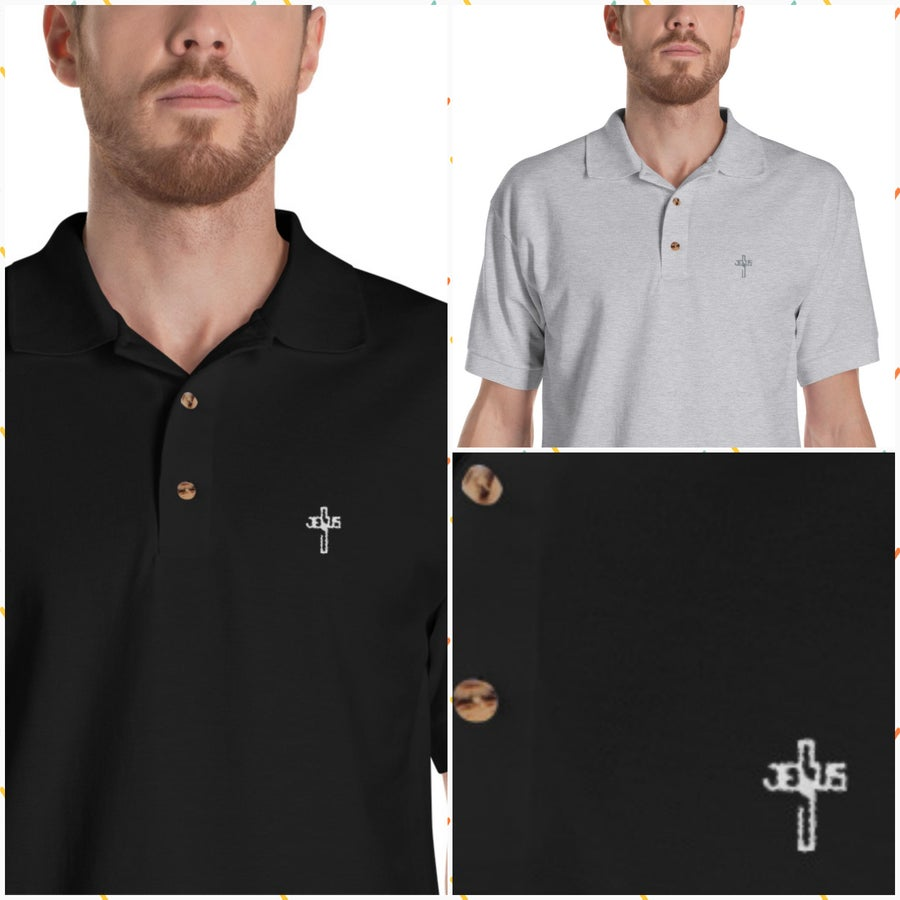 Image of JESUS Embroidered Polo Shirt