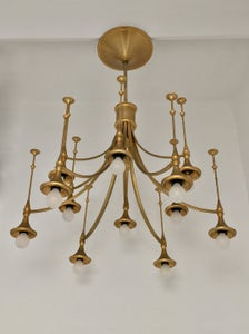 Image of Gold Lacquered Chandelier, Italy 1960s