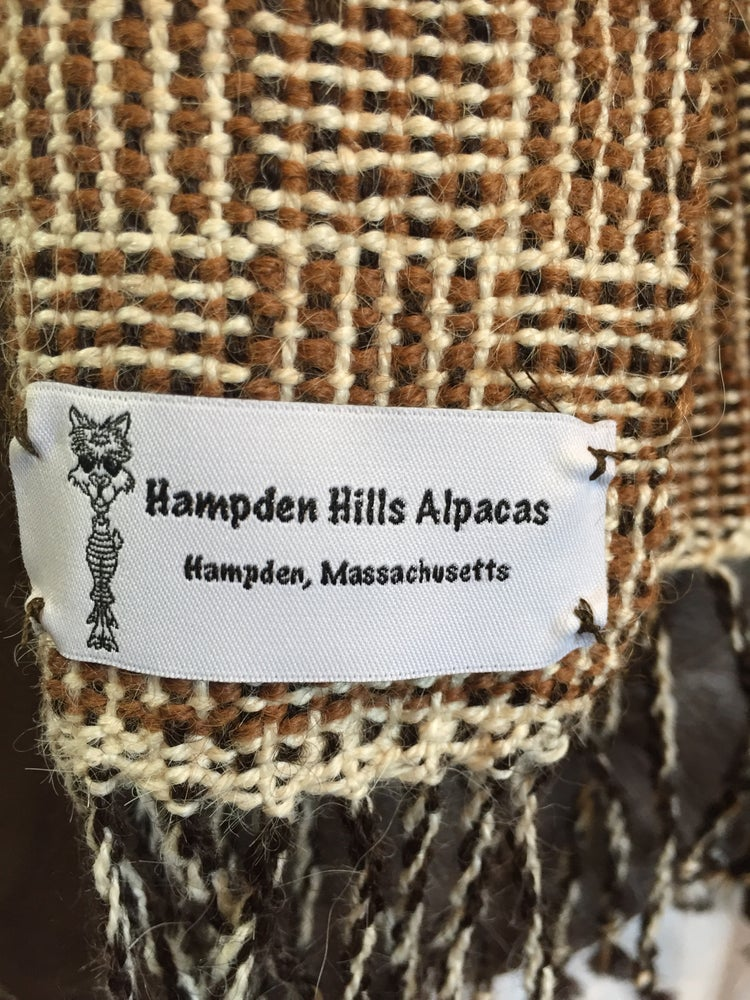 Image of Hand woven Log Cabin Alpaca Scarf.   (# 18239)