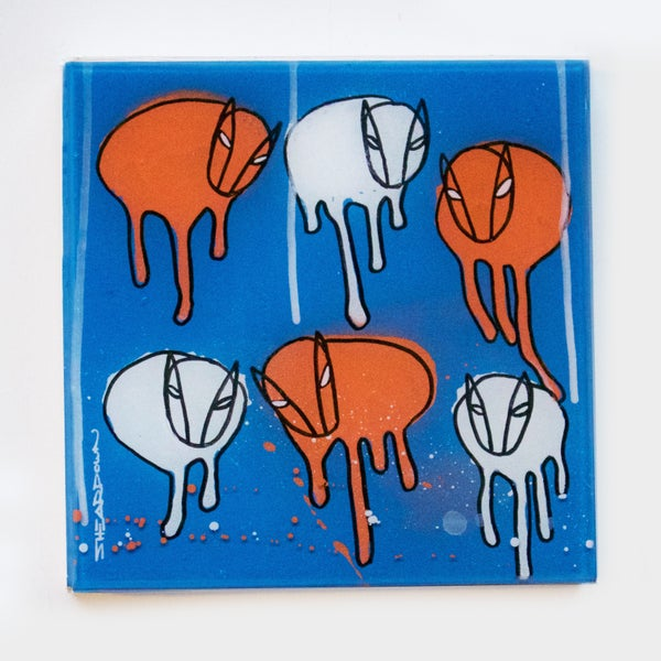 "Image of Raining Cows, 'UNMASKED' 2018 10""X10"""