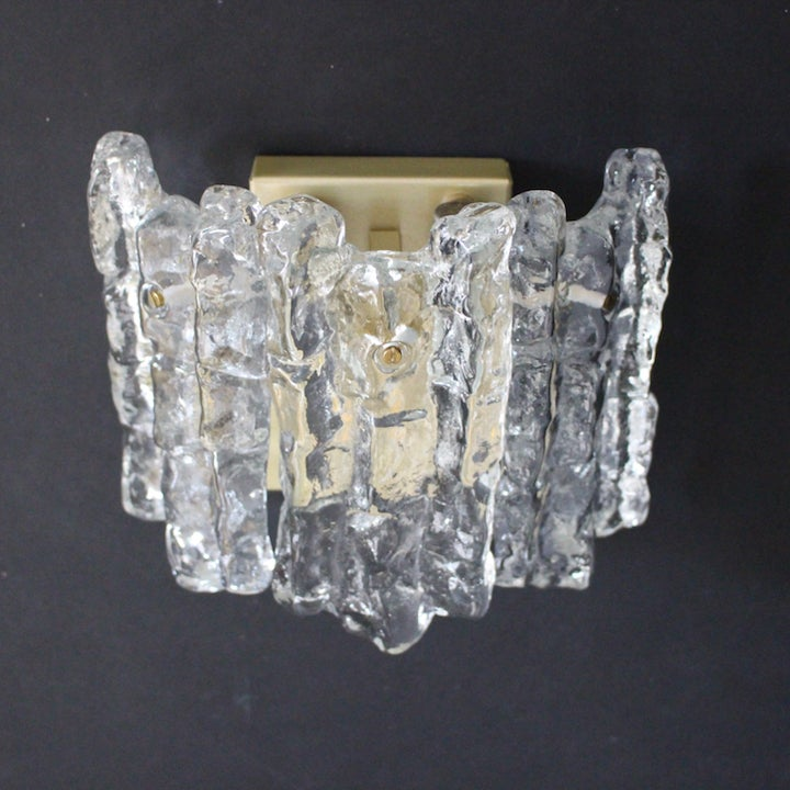 Image of Ice Glass Sconces, Austria 1960s