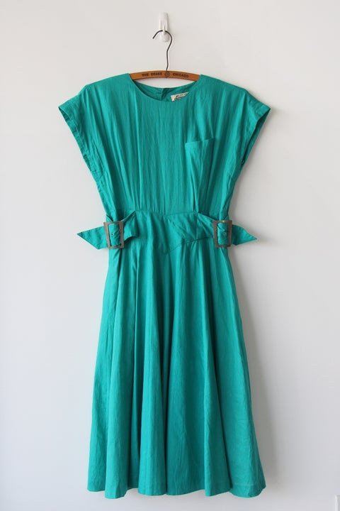 Image of SOLD Buckles And Flowy Skirt Dress