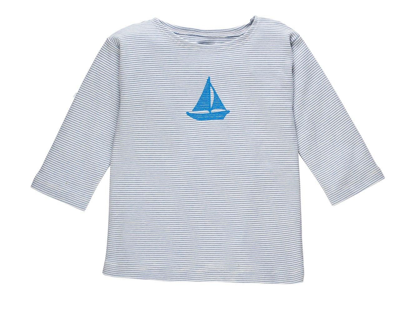 Image of T-Shirt hellblauer Streifen mit Boot