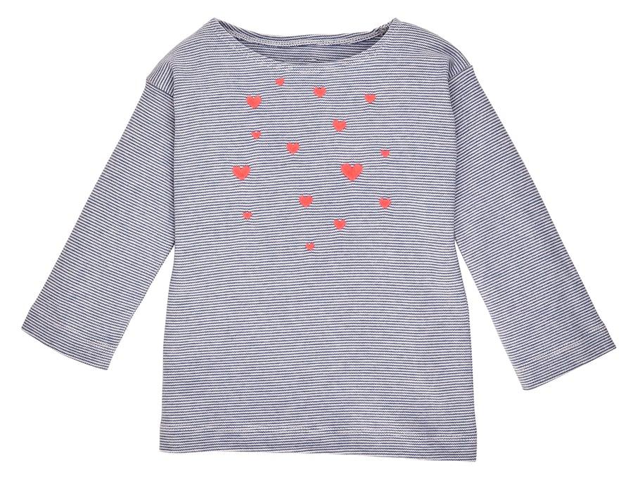 Image of SALE T-Shirt blau gestreift mit pink leuchtenden Herzen