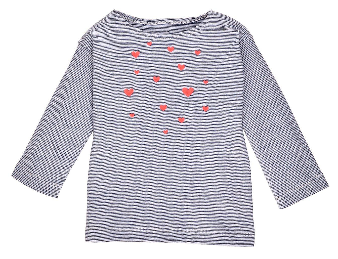Image of NEU T-Shirt blau gestreift mit pink leuchtenden Herzen Art. 235228
