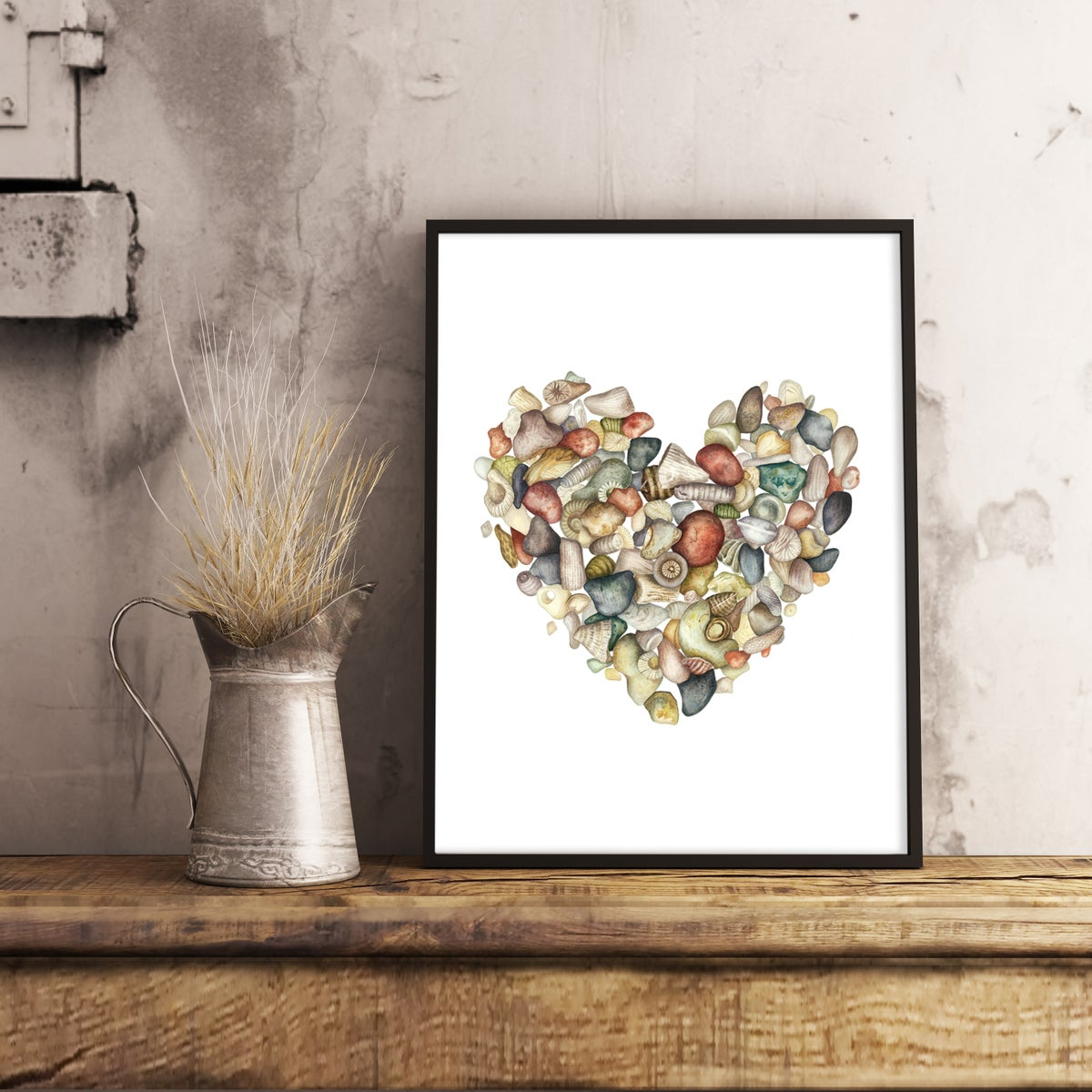 """""""Gotland"""". Fine art print of a heart shaped stone and seashell composition in watercolor."""