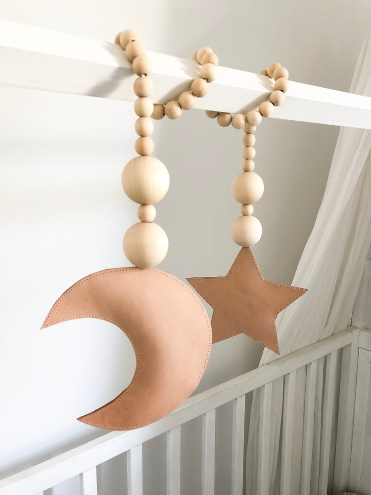 Image of Luxe Leather Moon Loves Star Garland