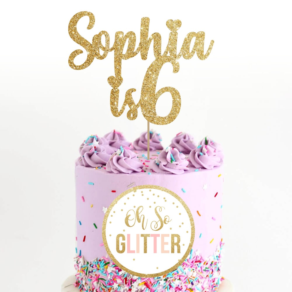 Image of Name is Age - glitter cake topper