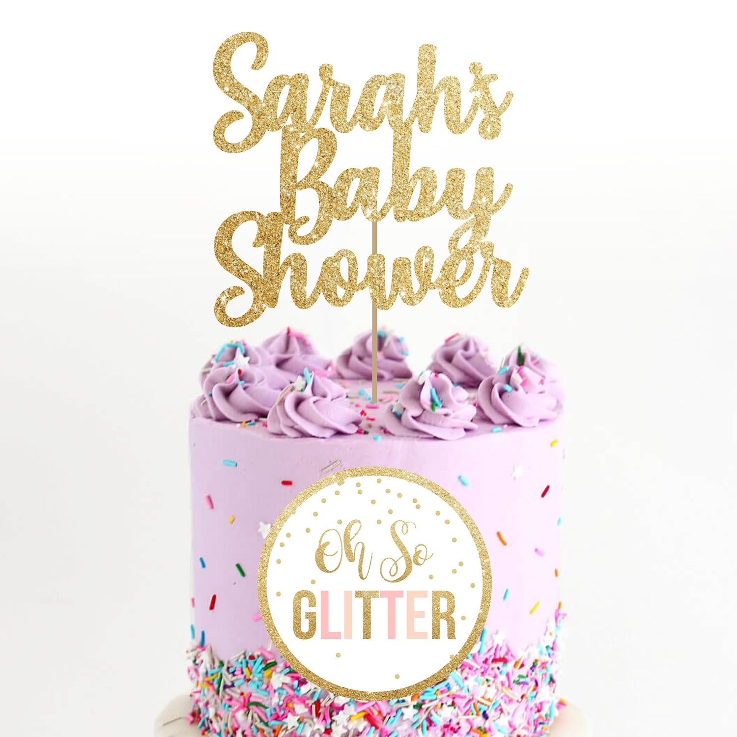 Image of Baby Shower Glitter cake topper