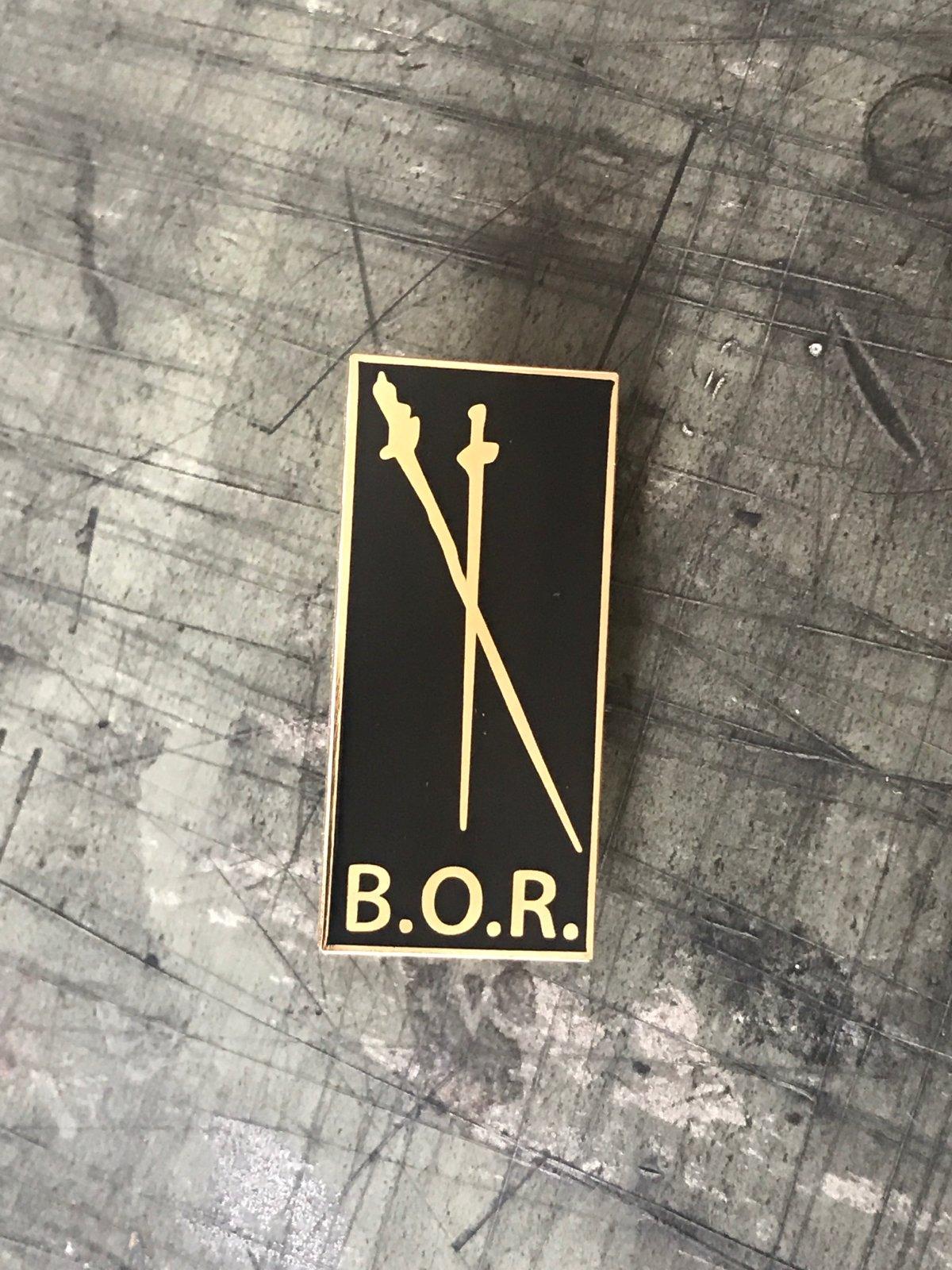B.O.R. Hard enamel pin.