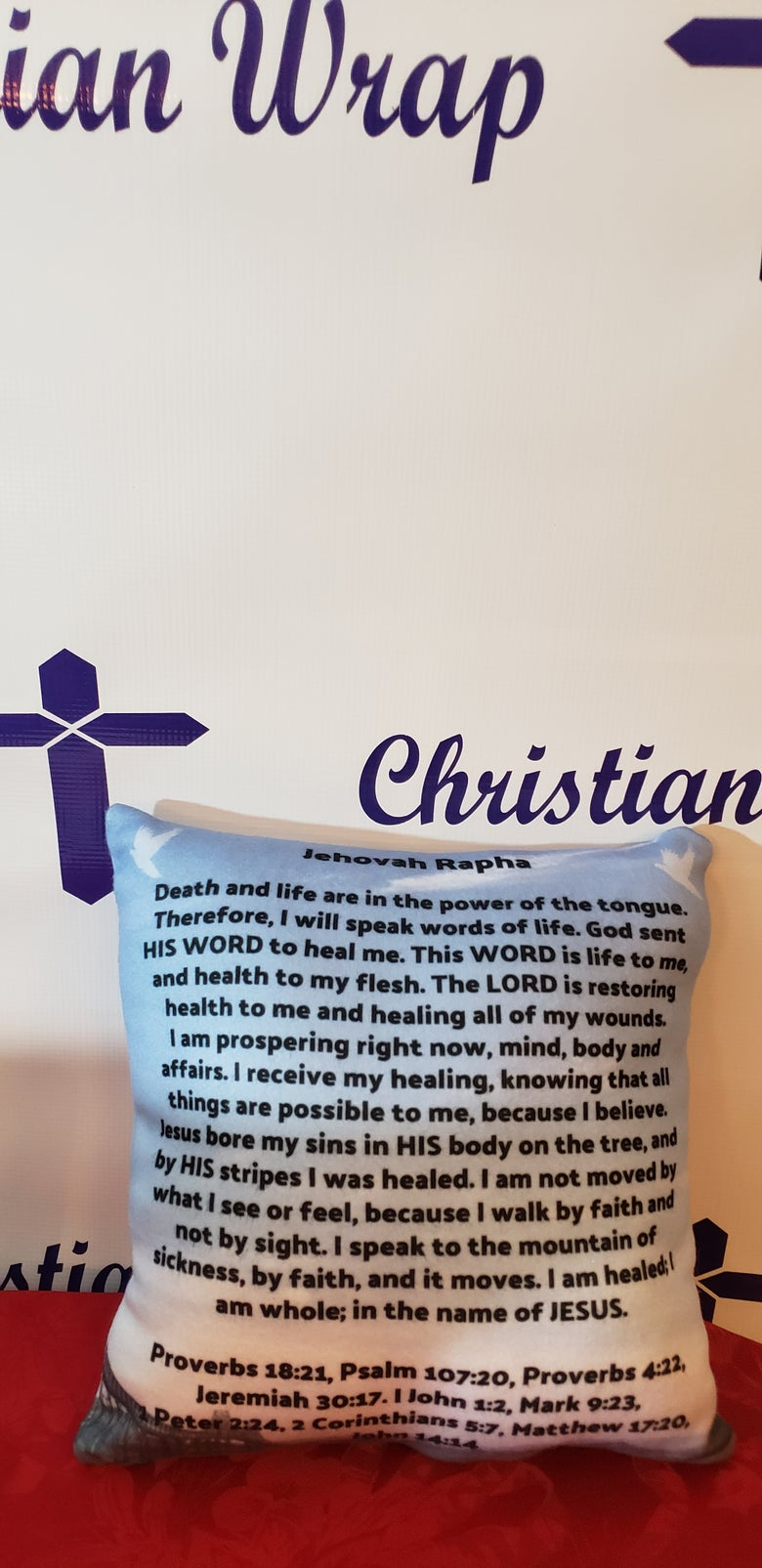 Image of 2-sided Jehovah Rapha Scripture Prayer Pillow