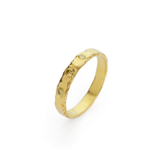Image of 18ct gold plated ring set with diamonds