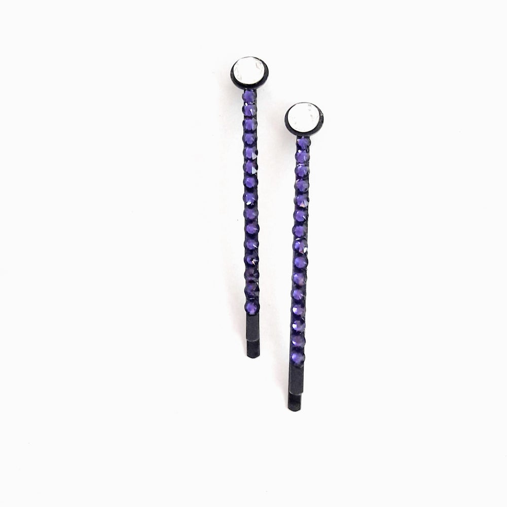"Image of ""Purple Velvet"" Crystal Bling Hair Bobby Pins"