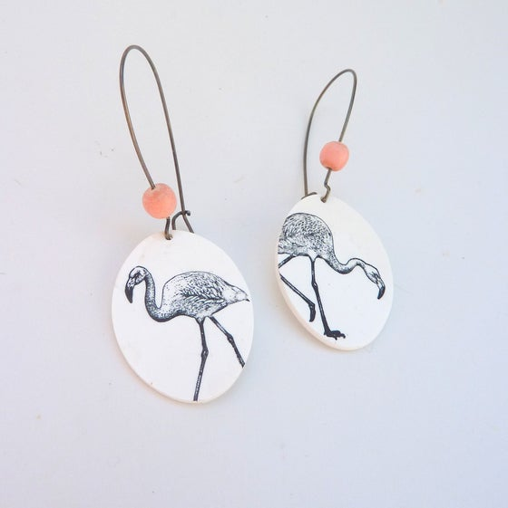 Image of Boucles d'oreilles flamant rose 2