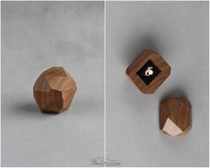 Image of Faceted wood ring box by Woodstorming - engagement ring box - proposal box - anniversary gift