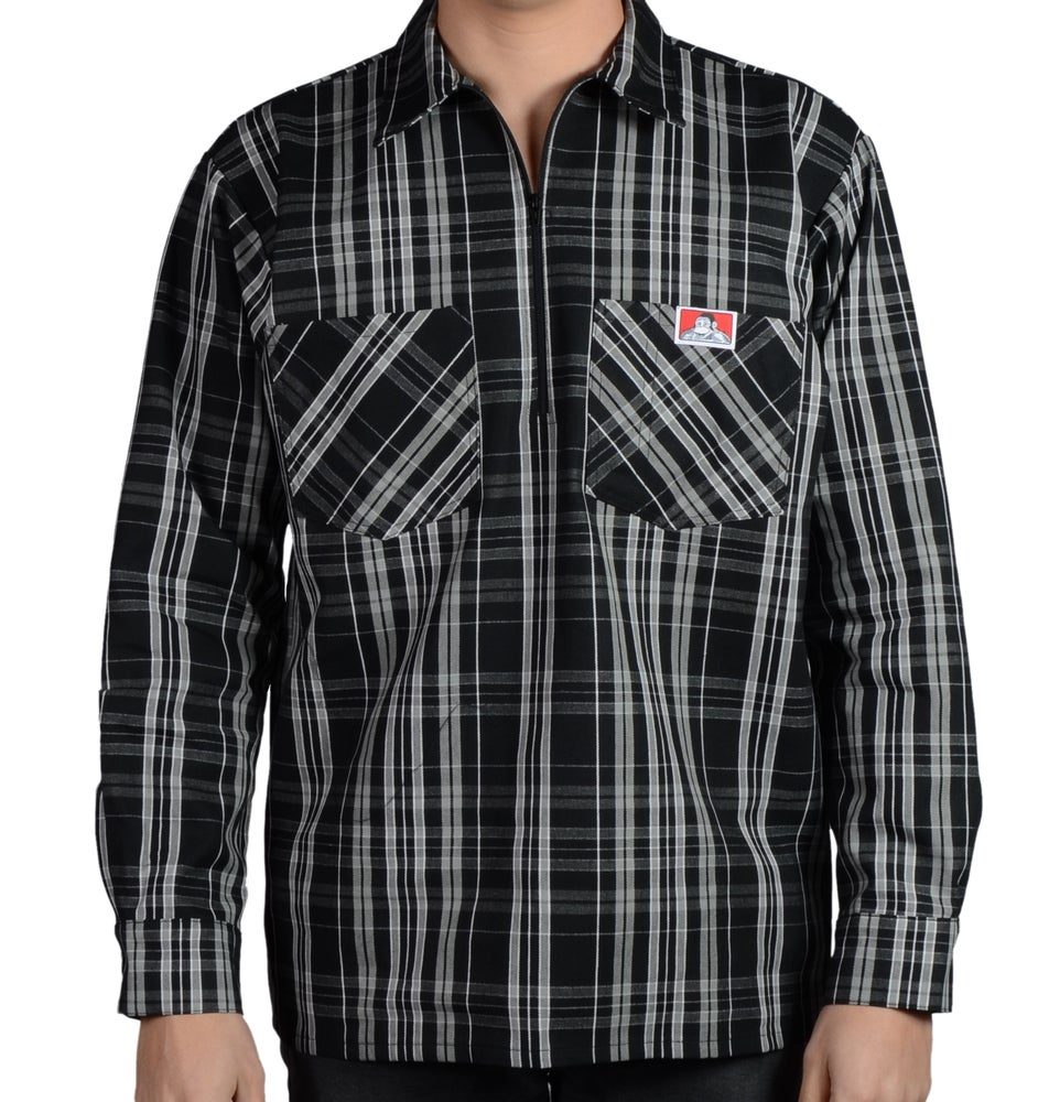 Image of Ben Davis Long Sleeved Plaid – Half Zipper