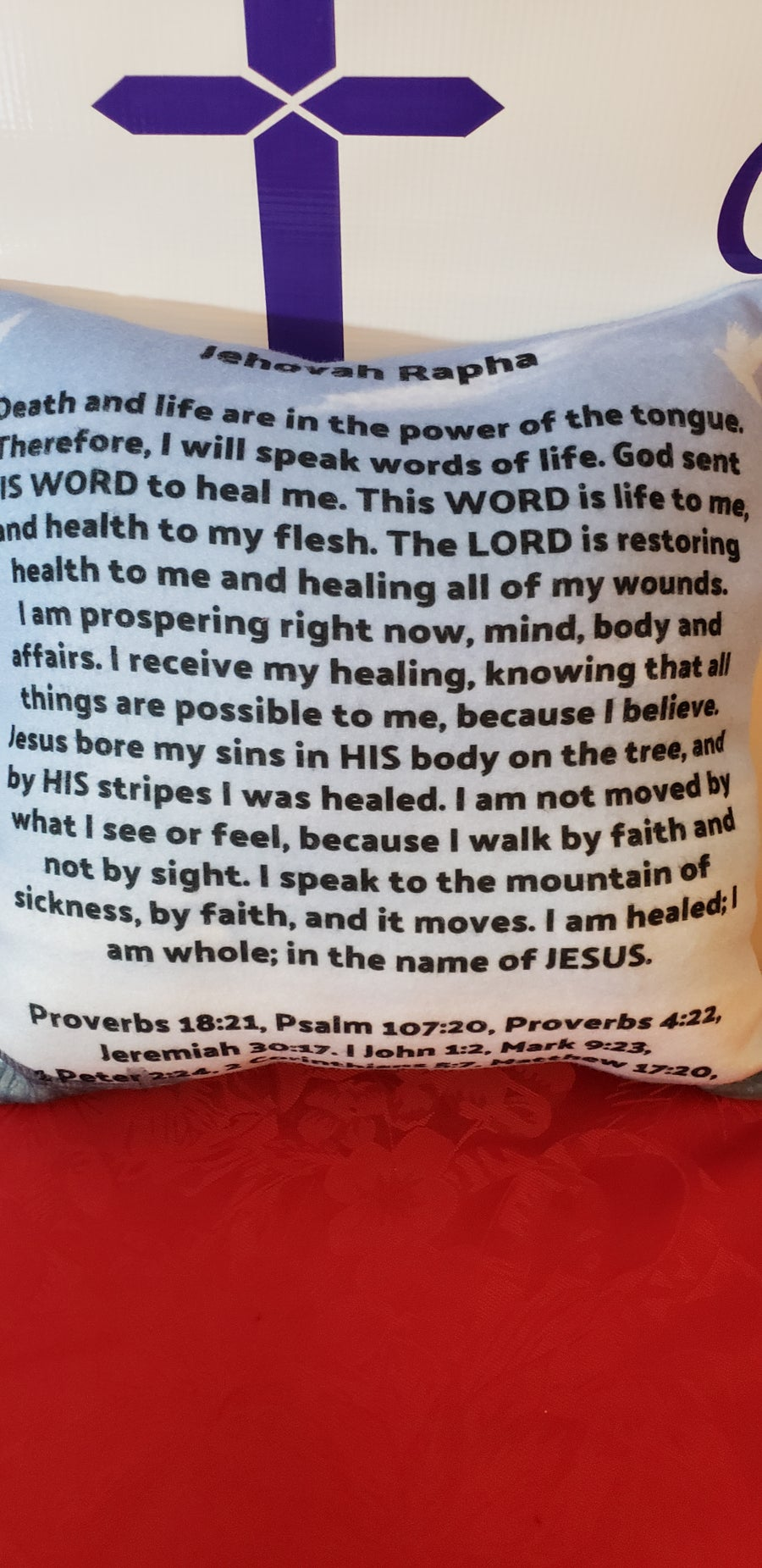 Image of Jehovah Jireh/Jehovah Rapha Scripture Prayer Pillow