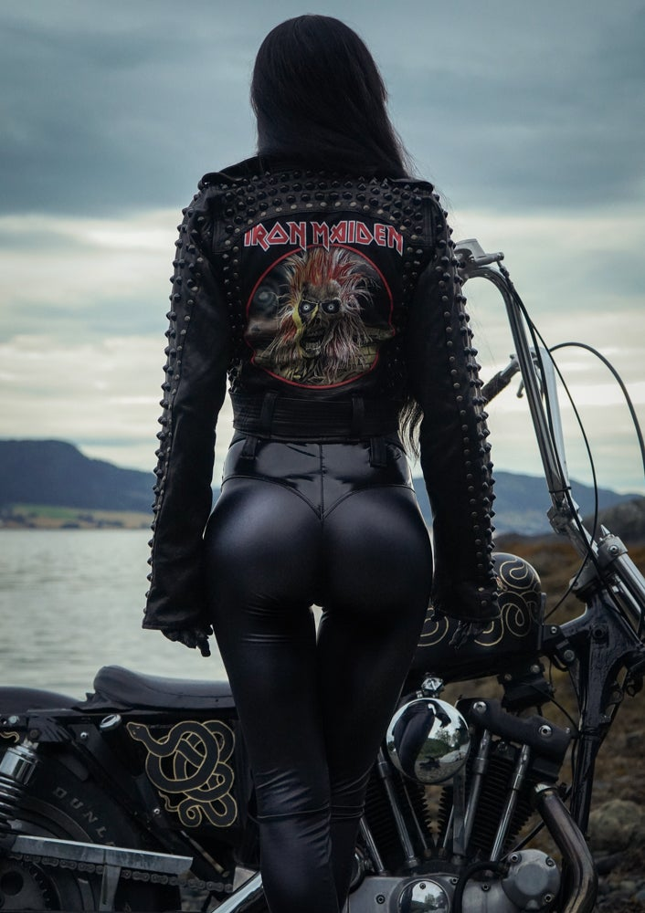 Image of TOXIC VISION Iron Maiden studded biker jacket