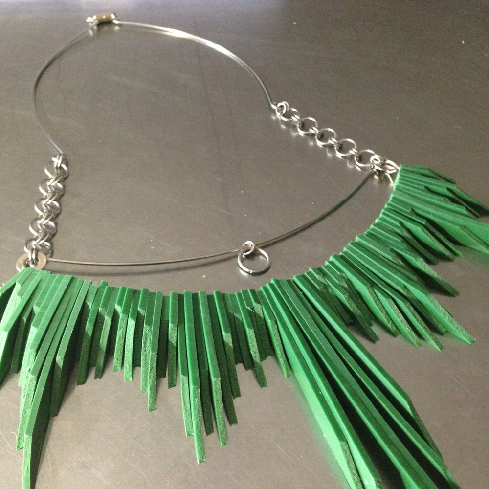 Image of Spirit Necklace - Green Rubber Statement Necklace
